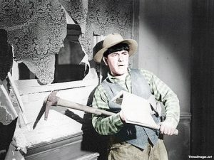 Cash and Carry - colorized photo of Moe Howard mining