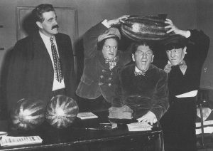 Dunked in the Deep - promotional photo for the Three Stooges short film, with Gene Roth, Larry Fine, Shemp Howard, Moe Howard, and the watermelons
