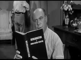 In the Three Stooges short film, Hoofs and Goofs, Joe Besser starts reading on reincarnation