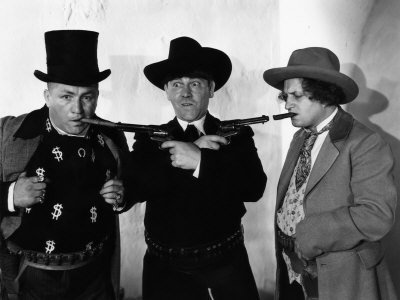 The Three Stooges (Moe, Larry, Curly) in the old West