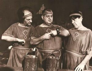 The Three Stooges (Larry, Curly Joe, Moe) in ancient Rome