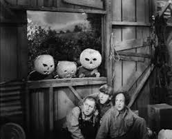 The Yolk's on Me - Curly, Moe and Larry hiding from Japanese Americans wearing pumpkins