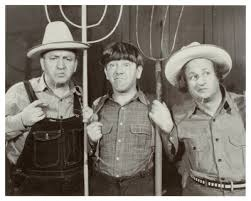 Publicity photo for The Yolk's on Me - Curly, Moe and Larry as farmers